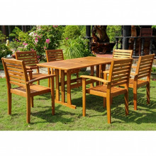 International Caravan Royal Tahiti Badalona Yellow Balau Wood Rectangular 7 Piece Outdoor Dining Set