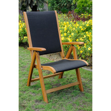 International Caravan Royal Tahiti Segovia Yellow Balau Wood Outdoor Five-position Folding Armchairs (Set of 2)