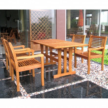 International Caravan Royal Tahiti Montoro Yellow Balau Wood Rectangular 5 Piece Outdoor Dining Set
