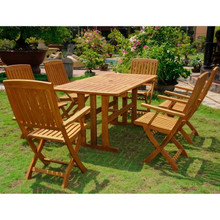 International Caravan Royal Tahiti Merida Yellow Balau Wood Rectangular 7 Piece Outdoor Dining Set