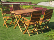 International Caravan Royal Tahiti Almeria Yellow Balau Wood Rectangular 5 Piece Outdoor Dining Set