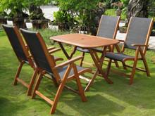 International Caravan Royal Tahiti Tordera Yellow Balau Wood Rectangular 5 Piece Outdoor Dining Set