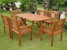 International Caravan Royal Tahiti Girona Yellow Balau Wood Rectangular 7 Piece Outdoor Dining Set