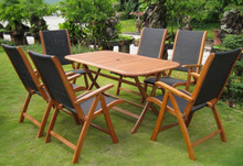 International Caravan Royal Tahiti Lourdes Yellow Balau Wood Rectangular 7 Piece Outdoor Dining Set