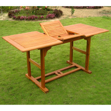 International Caravan Royal Tahiti Yellow Balau Hardwood Outdoor Butterfly Leaf Rectangular Extension Table