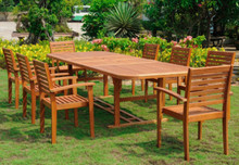 International Caravan Yellow Balau Wood Rectangular 9 Piece Oslo Outdoor Dining Set