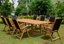 International Caravan Royal Tahiti Paloma Yellow Balau Wood Rectangular 9 Piece Outdoor Dining Set