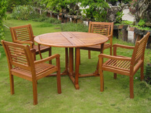 "International Caravan Royal Tahiti Bar Harbor 5-Piece 51.5"" Round Gateleg Dining Set"