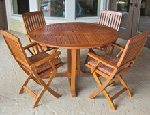 "International Caravan Royal Tahiti 5-Piece 51.5"" Round Gateleg Dining Set With Folding Dining Arm Chairs"