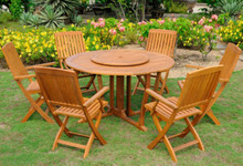 "International Caravan Royal Tahiti 7-Piece 51.5"" Round Gateleg Dining Set With Folding Dining Arm Chairs and Lazy Susan"
