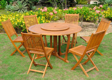 "International Caravan Royal Tahiti 7-Piece 51.5"" Round Gateleg Dining Set With Folding Garden Chairs and Lazy Susan"