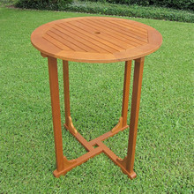 "International Caravan Royal Tahiti Yellow Balau Hardwood Bar-height 35.5"" Round 4-leg Table"