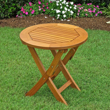 International Caravan Royal Tahiti Yellow Balau Hardwood Round 19- inch Folding Side Table