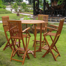 International Caravan Royal Tahiti Lugo Yellow Balau Hardwood Outdoor Bar-Height 5-Piece Bistro Set