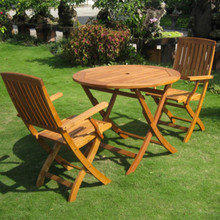 International Caravan Royal Tahiti 3-Piece Yellow Balau Wood 36-inch Round Folding Dining Set