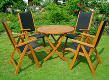 International Caravan Royal Tahiti Caceres 5-Piece Yellow Balau Wood 36-inch Round Folding Dining Set