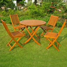 International Caravan Royal Tahiti Marin 5-Piece Yellow Balau Wood 36-inch Round Folding Dining Set