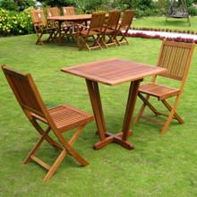 International Caravan Royal Tahiti Yellow Balau Hardwood 3-Piece Outdoor Folding Garden Chair Bistro Set