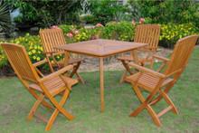 International Caravan Royal Tahiti Sabrosa Yellow Balau Hardwood Outdoor 5-Piece 36-inch Square Dining Set