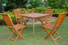 International Caravan Royal Tahiti Montalbo Yellow Balau Hardwood Outdoor 5-Piece 36-inch Square Dining Set