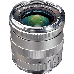 Zeiss Super Wide Angle 21mm f/2.8 Biogon T* ZM Manual Focus Lens for Zeiss Ikon and Leica M Mount Rangefinder Cameras - Silver