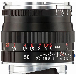 Zeiss Normal 50mm f/2 Planar T* ZM Manual Focus Lens for Zeiss Ikon and Leica M Mount Rangefinder Cameras - Black