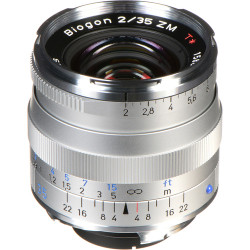 Zeiss Wide Angle 35mm f/2 Biogon T* ZM Manual Focus Lens for Zeiss Ikon and Leica M Mount Rangefinder Cameras - Silver