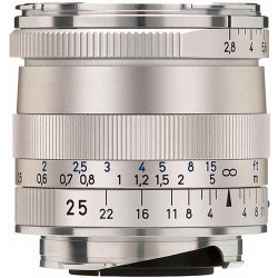 Zeiss Wide Angle 25mm f/2.8 Biogon T* ZM Manual Focus Lens for Zeiss Ikon and Leica M Mount Rangefinder Cameras - Silver