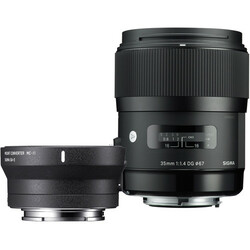 Sigma 35mm f/1.4 DG HSM Art Lens for Canon EF and MC-11 Mount Converter/Lens Adapter for Sony E Kit