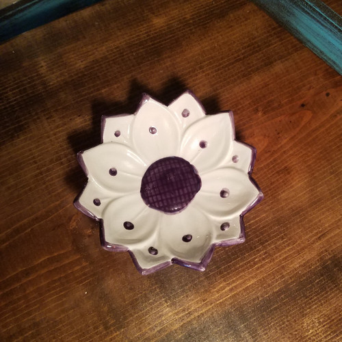 Handcrafted White and Purple Flower Soap Dish
