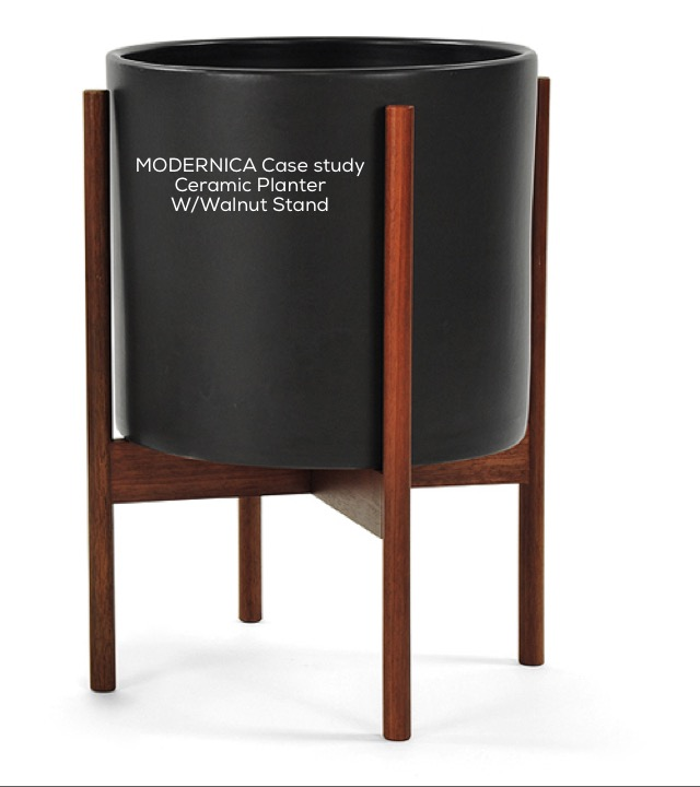 Modernica Case Study Ceramic Planter w/Walnut Stand
