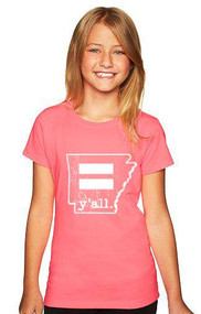 Youth Arkansas Equality Hot Pink y'all T-Shirt