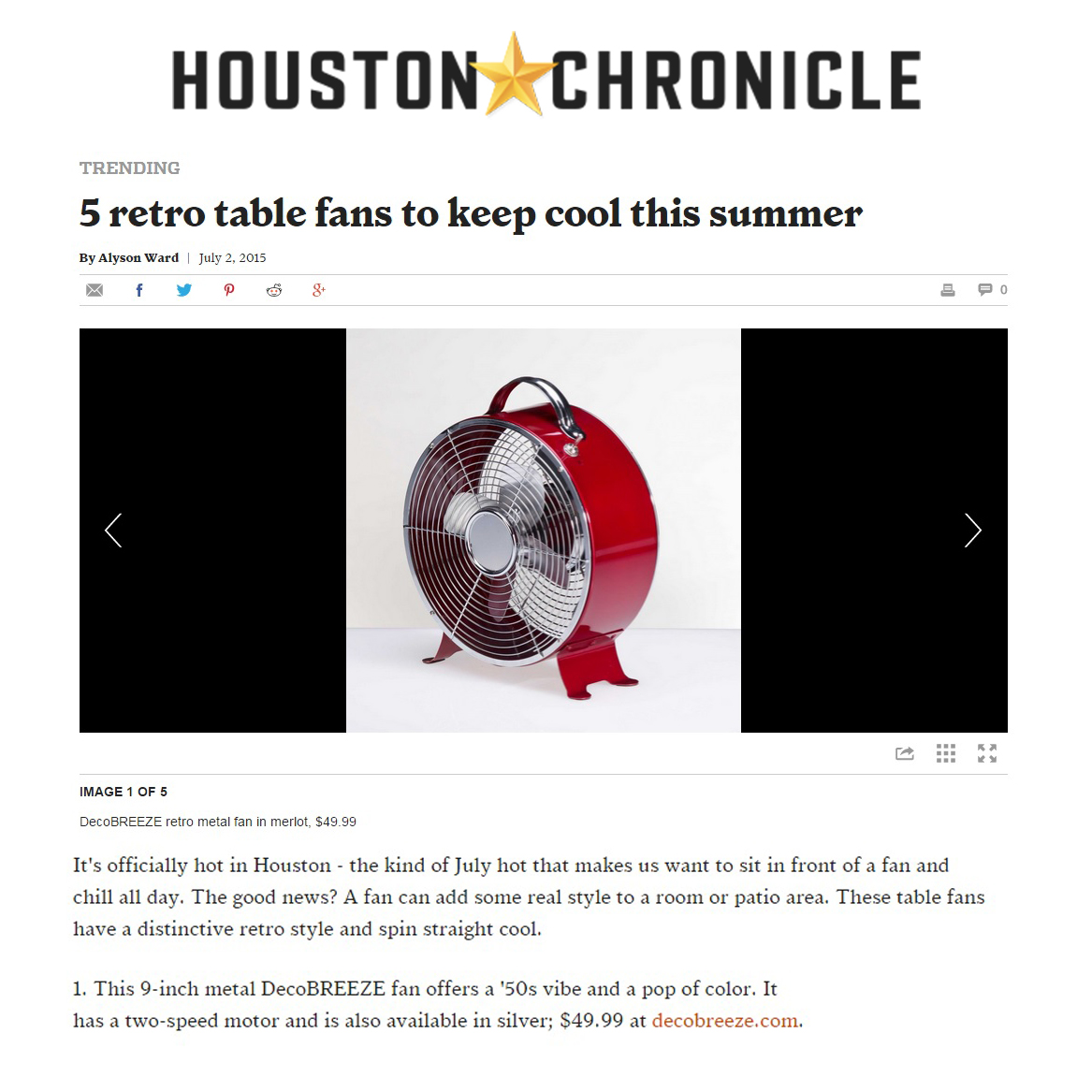 July 2015 Houston Chronicle 5 Retro Table Fans To Keep