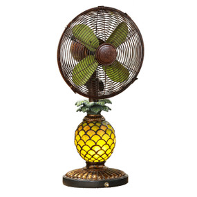 Table Fan & Light - Pinapple Mosaic Glass