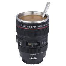 LUPO Camera Lens Stainless Steel Tea Coffee Mug + Screw on Sipping Lid