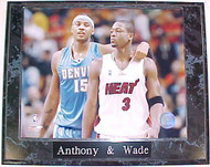 Carmelo Anthony Nuggets & Dwyane Wade Heat 10.5x13 Plaque