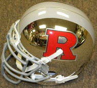 Rutgers Scarlett Knights CHROME with Red Logo, Grey Mask & Stripe Schutt NCAA College Football Authentic Team Mini Helmet