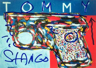 John Stango Autographed 8.5x6 Tommy Hilfiger Postcard of his Original Abstract Art Acrylic on Canvas Painting