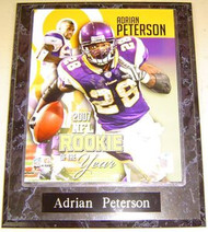 Adrian Peterson Minnesota Vikings 2007 NFL Rookie Of The Year 10.5x13 Plaque