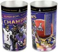 Baltimore Ravens NFL Super Bowl 47 XLVII Champions Wincraft Metal Tapered Wastebasket Trash Can