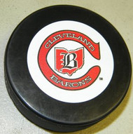 Cleveland Barons NHL Team Logo Throwback Autograph Hockey Puck 1976-1978