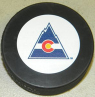 Colorado Rockies NHL Team Logo Throwback Autograph Hockey Puck 1976-1982