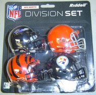 AFC North Division NFL Riddell Pocket Pro Revolution Helmet 4-Pack Set Baltimore Ravens, Cleveland Browns, Cincinnati Bengals & Pittsburgh Steelers