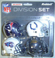 AFC South Division NFL Riddell Pocket Pro Revolution Helmet 4-Pack Set Houston Texans, Tennessee Titans, Indianapolis Colts & Jacksonville Jaguars - afcsouthrpp2009