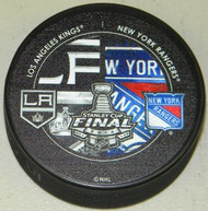 2014 Stanley Cup Finals NHL Dueling Logo Los Angeles Kings vs. New York Rangers Autograph Model Hockey Puck