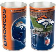 Denver Broncos NFL Team Logo Wincraft Metal Tapered Wastebasket Trash Can