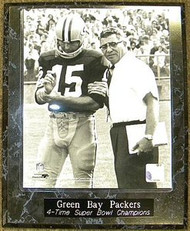 Bart Starr & Vince Lombardi Green Bay Packers 4-Time Super Bowl Champions 10.5x13 Plaque