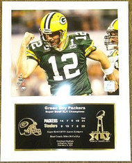 Aaron Rodgers Green Bay Packers Super Bowl XLV 45 Champions 12x15 Plaque