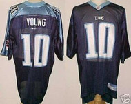 Vince Young Tennessee Titans Blue Custom Reebok Licensed Mesh Souvenir Jersey Size XL