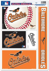 Baltimore Orioles MLB Team Logo Wincraft Sports 11x17 Ultra Decal - 5 Decal Sheet